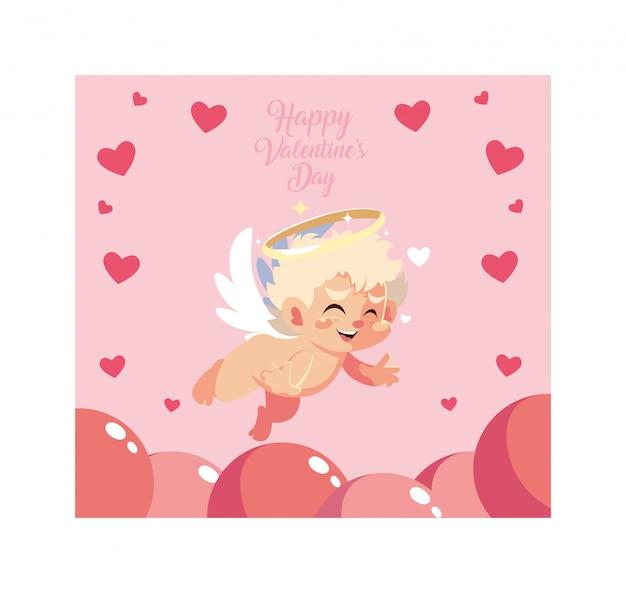 バレンタインの日、甘いキューピッド天使のグリーティングカード