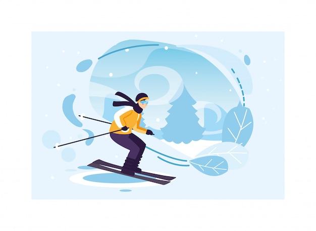 Человек с горных лыж в пейзаж со снегопадом