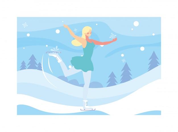 Женщина занимается фигурным катанием, ледовый спорт