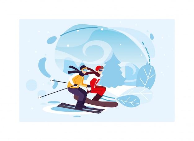 冬の極端なスポーツを練習する男性