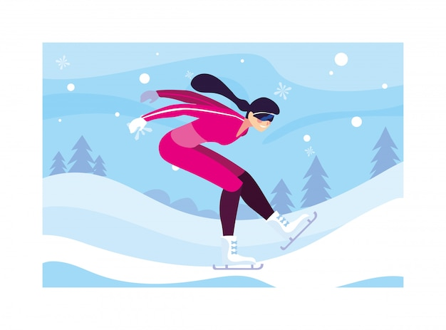 Женщина на коньках в зимний пейзаж