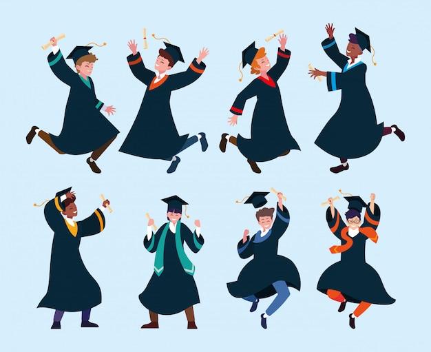 人学生、大学卒業のセット