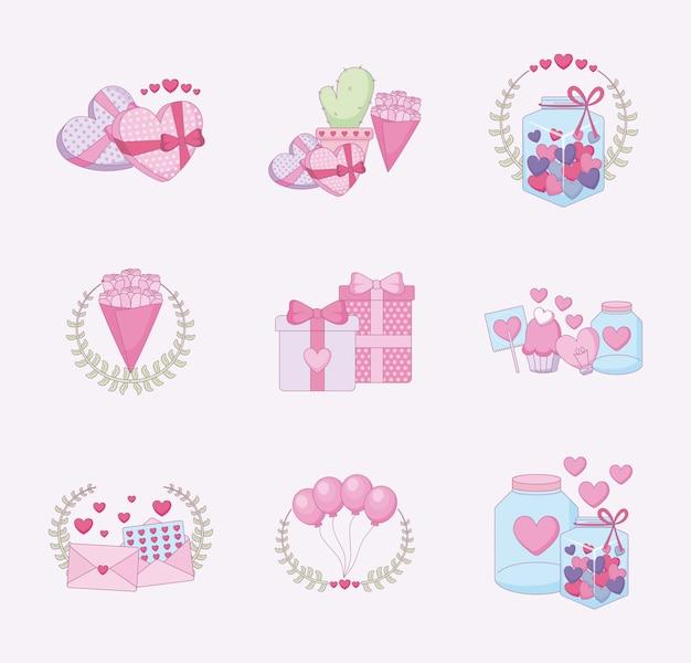 愛と幸せのバレンタインの日のアイコンを設定