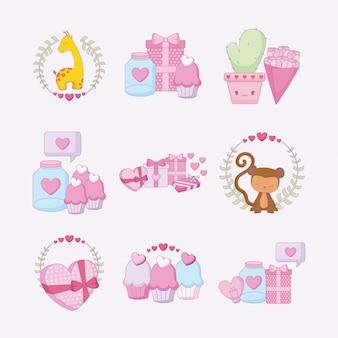 Любовь и счастливый день святого валентина набор иконок