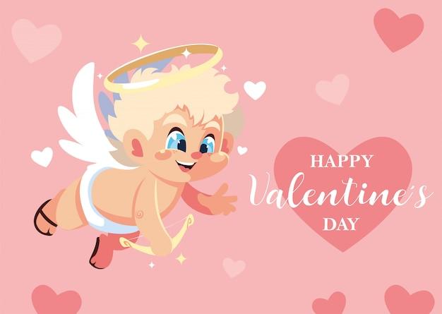 Открытка на день святого валентина, сладкий амур ангел