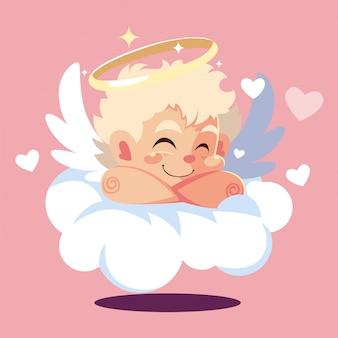 バレンタインの日、雲で寝ているキューピッドの天使