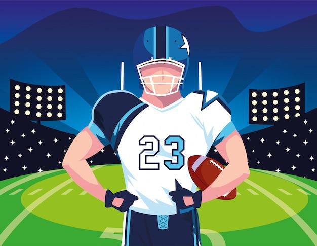 ラグビーの男のフットボール選手、ユニフォームを持つスポーツマン