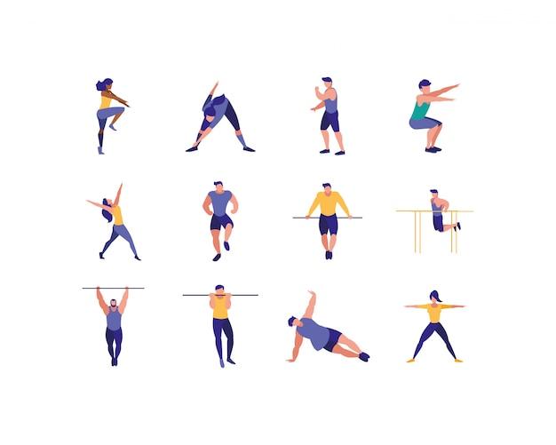 Изолированные женщины и мужчины делают спортивные иллюстрации