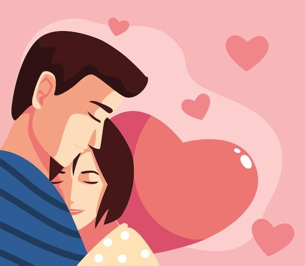 Женщина и мужчина пара обнимаются иллюстрации