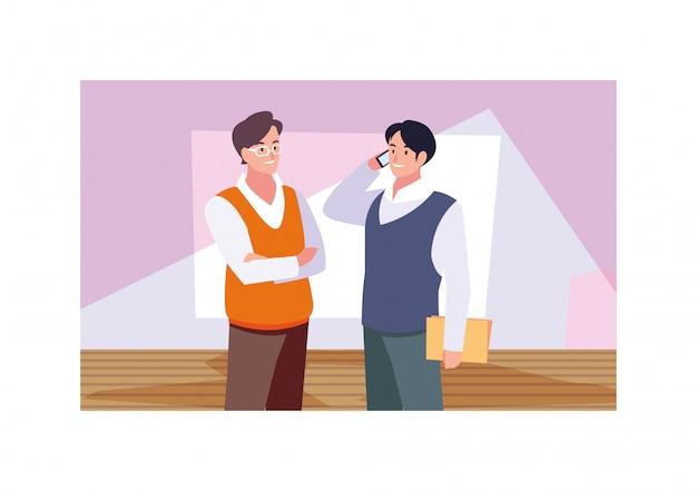 Бизнесмены, стоящие в рабочем кабинете, бизнесмены-профессионалы