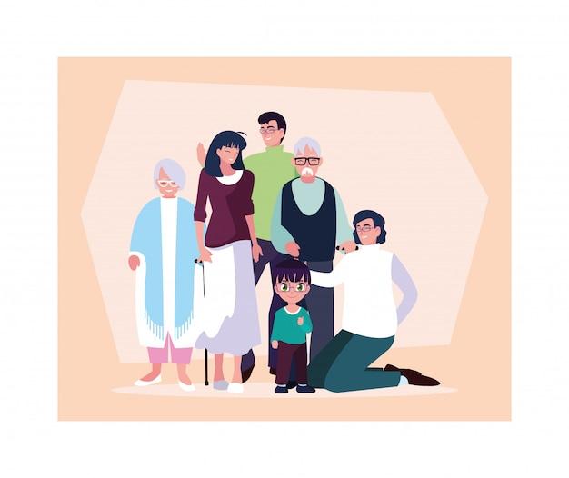 Большая семья вместе, три поколения бабушек и дедушек, родители и дети разного возраста вместе