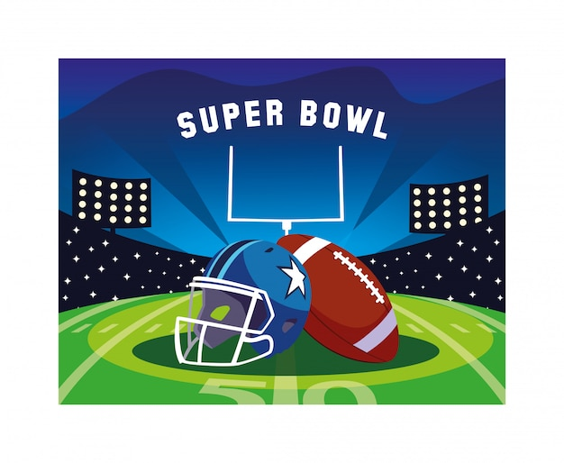 Шлем и мяч американский футбол на стадионе