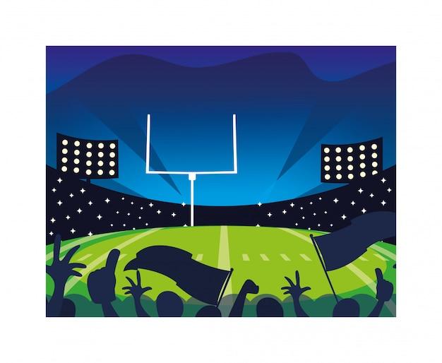 Футбольный стадион с огнями, американский футбол