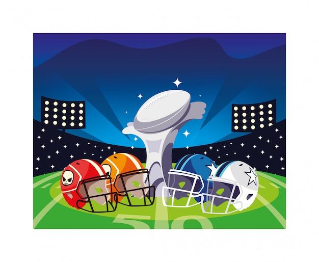 スタジアムでヘルメットを持つアメリカンフットボール賞