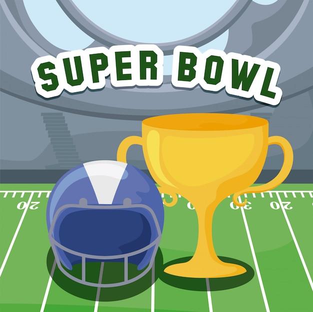 アメリカンフットボールのヘルメットとフィールド上のトロフィー