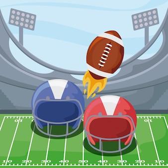 Шлемы американского футбола и мяч над полем