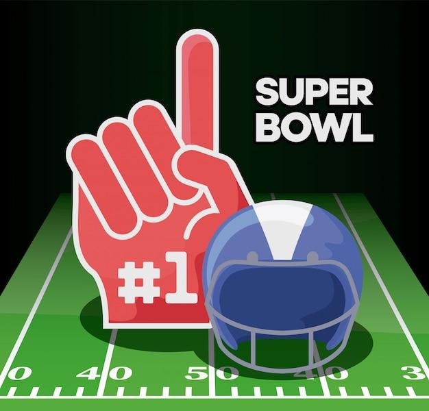 Американский футбол шлем и перчатки над полем