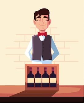 ワインのボトルとウェイター
