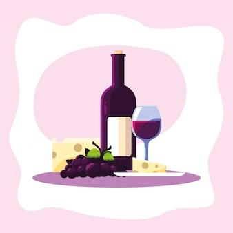 ワインボトルチーズブドウとカップ