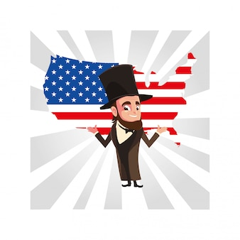 地図アメリカとアブラハムリンカーン大統領