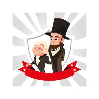 大統領ジョージ・ワシントンとエイブラハム・リンカーン、大統領の日の漫画