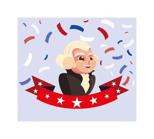 Президент джордж вашингтон, открытка на день президента