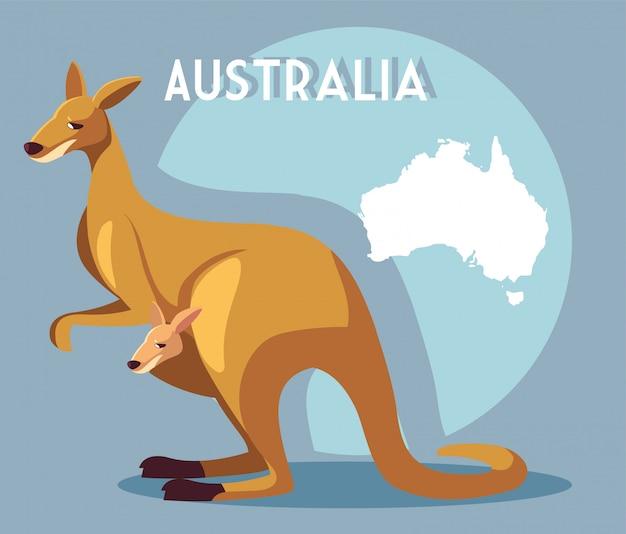 オーストラリアの地図とカンガルー