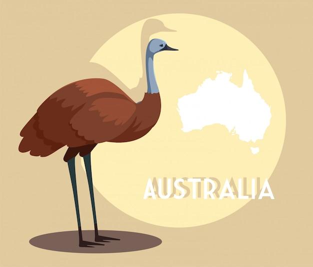 オーストラリアの地図とエミュー