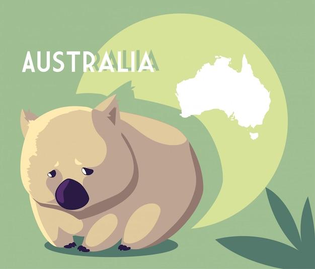 オーストラリアの地図とウォンバット