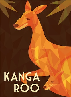 オーストラリアのカンガルーとグリーティングカード