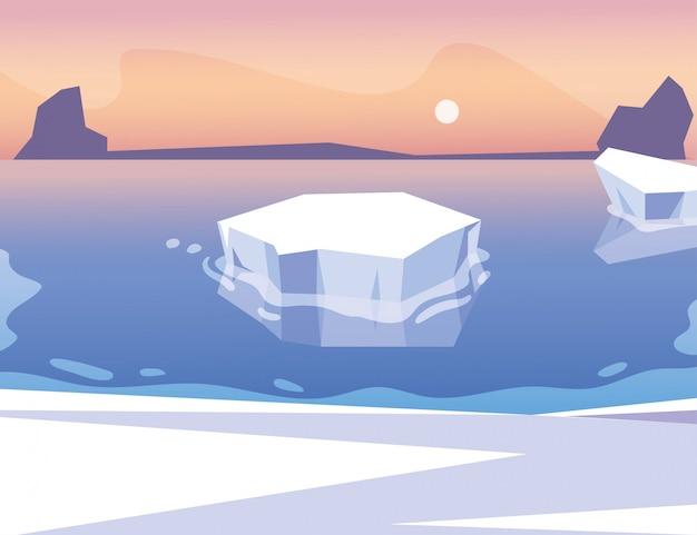 空に太陽と青い海に浮かぶ氷山