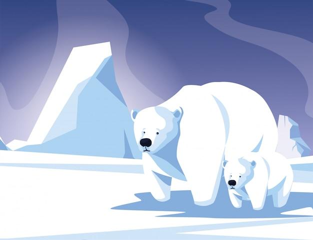 Белый медведь с детенышем у зимнего пейзажа, мама и дитя