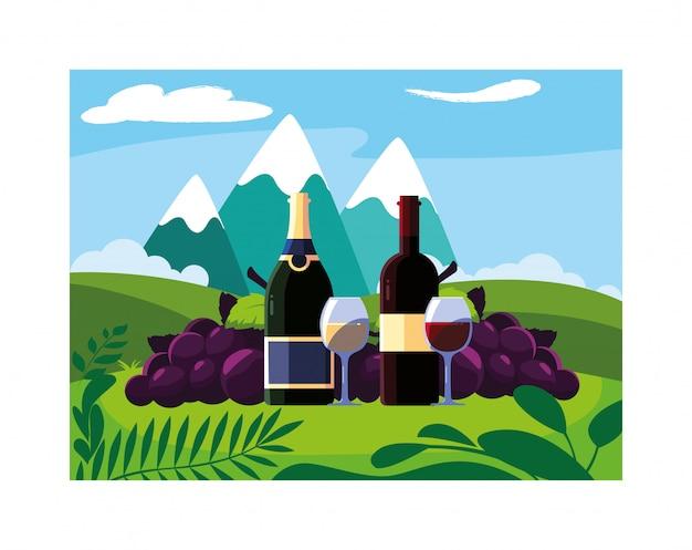 ボトルとブドウとワインのグラス
