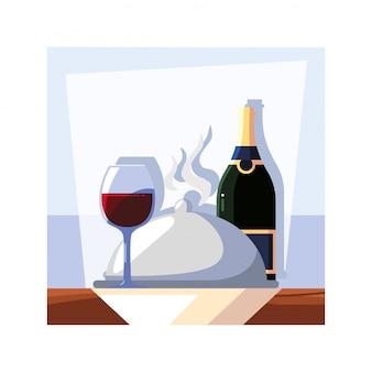 ボトルとテーブルの上のワインのグラス
