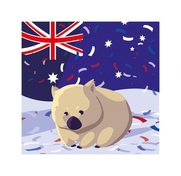 Вомбат с флагом австралии