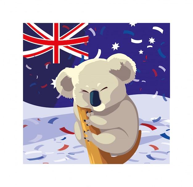 オーストラリアの旗を持つコアラ