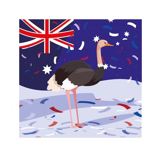 オーストラリアの旗とダチョウ