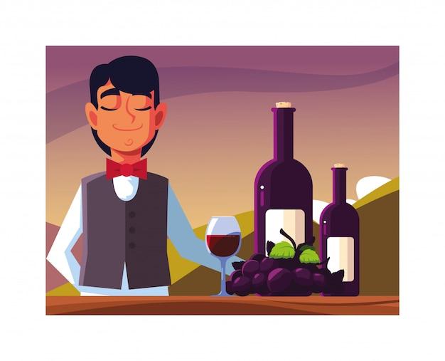 赤ワインを提供している男プロのウェイター