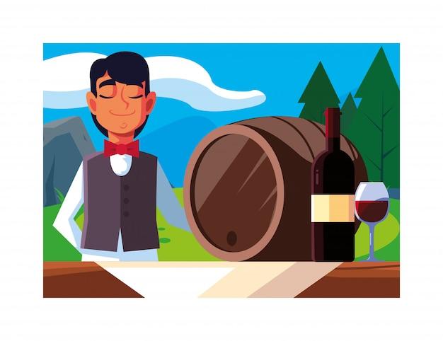 Человек профессиональный официант, предлагая красное вино