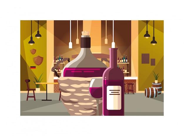 枝編み細工品バスケット、ワインの日でワインのボトル