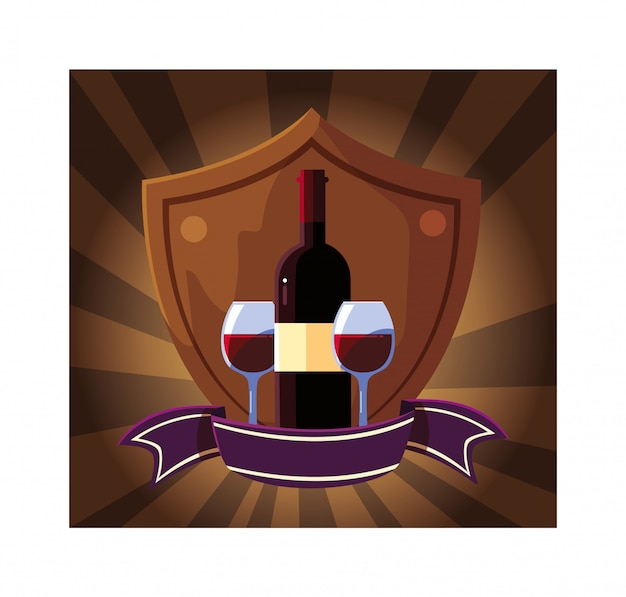 ボトルとリボン付きシールドのワインのグラス