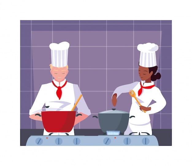 料理をする人、白い制服を着たシェフのカップル