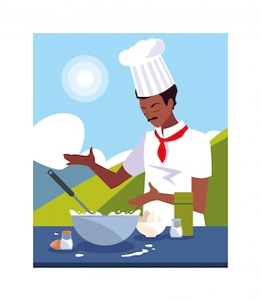 男の料理、白い制服を着たシェフ