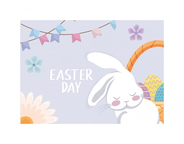Симпатичная пасхальная открытка с кроликом