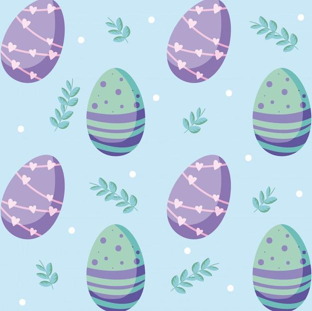 Счастливой пасхи яйца и листья фон