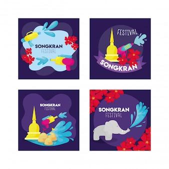 Набор карточек фестиваля сонгкран в таиланде