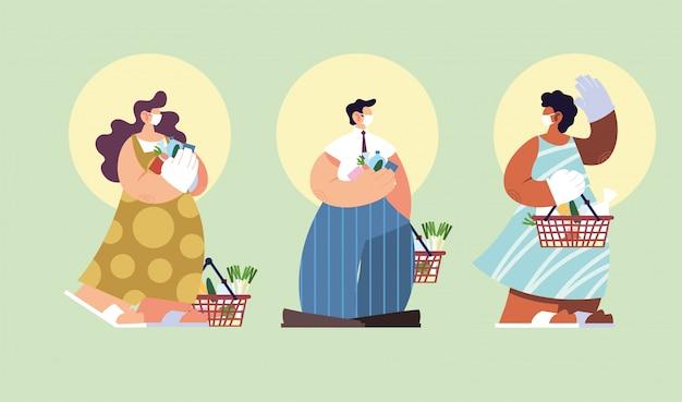 スーパーマーケットで買い物をする人、コロナウイルスによる社会的距離