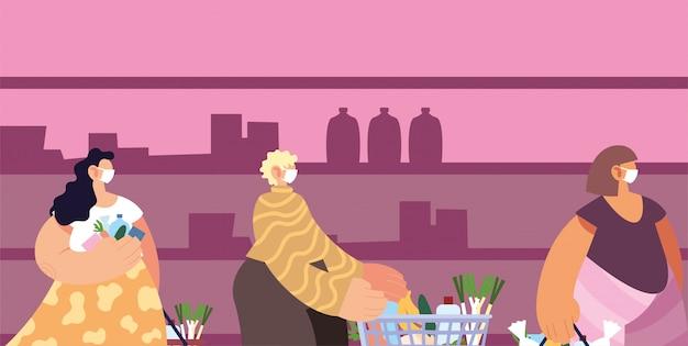 スーパーで買い物をしている医療用マスクを持つ人々、社会的距離