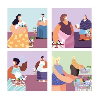 スーパーマーケットの買い物、コロナウイルスによる社会的距離の人々とポスター