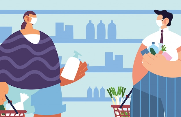 スーパーマーケットでコロナウイルス、社会的距離による予防策と医療マスクを持つ男性